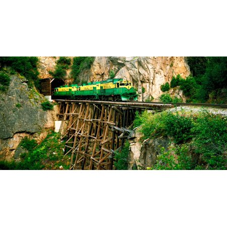 Train on a bridge White Pass And Yukon Route Railroad Skagway Alaska USA Rolled Canvas Art - Panoramic Images (6 x