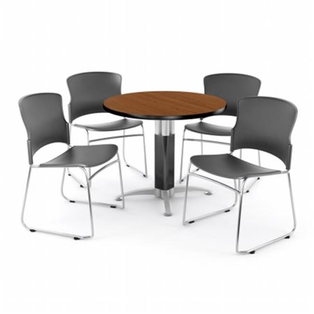 OFM PKG-BRK-029-0001 Breakroom Package Featuring 42 in. Round Mesh Base Multi-Purpose Table with Four Plastic Multi-Use Stack Chairs ()