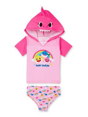 Baby Shark Toddler Girl Rashguard Cosplay Swimsuit