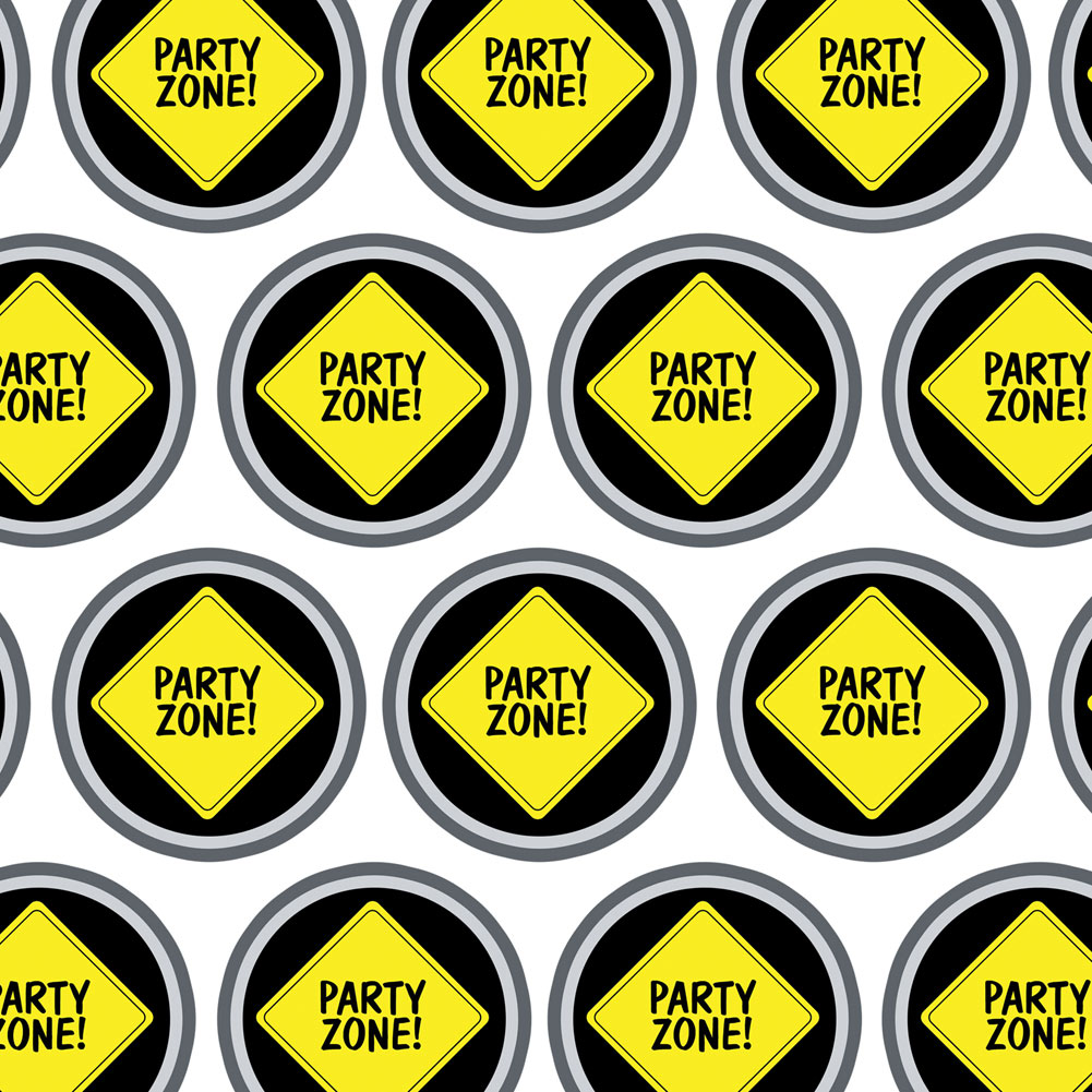 Party Zone Construction Sign Birthday Boy Premium Gift Wrap Wrapping Paper Roll