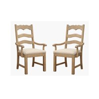 Emerald Home Barcelona Rustic Pine and Beige Dining Arm Chair with Curved Arms, Upholstered Seat, And Nailhead Trim, Set of Two