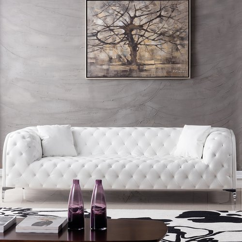 American Eagle Furniture Dobson Tufted Sofa With Designer Pillows
