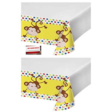 Plastic Monkey ((2 Pack) Fun Curious Monkey Plastic Table Cover 48 X 88 Inches (Plus Party Planning Checklist by Mikes Super)