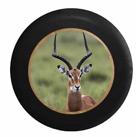 Antelope with Beautiful Long Horns in the Wild Jeep RV Camper Spare Tire Cover Black 27.5 in