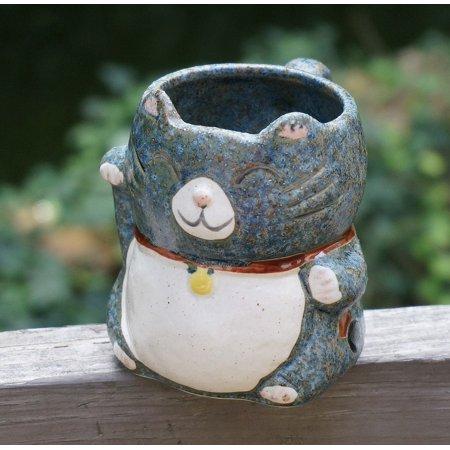 Canvas Print Mug Clay Cute Handmade Kitty Mug Handicraft Craft Stretched Canvas 10 x - Handmade Kitty