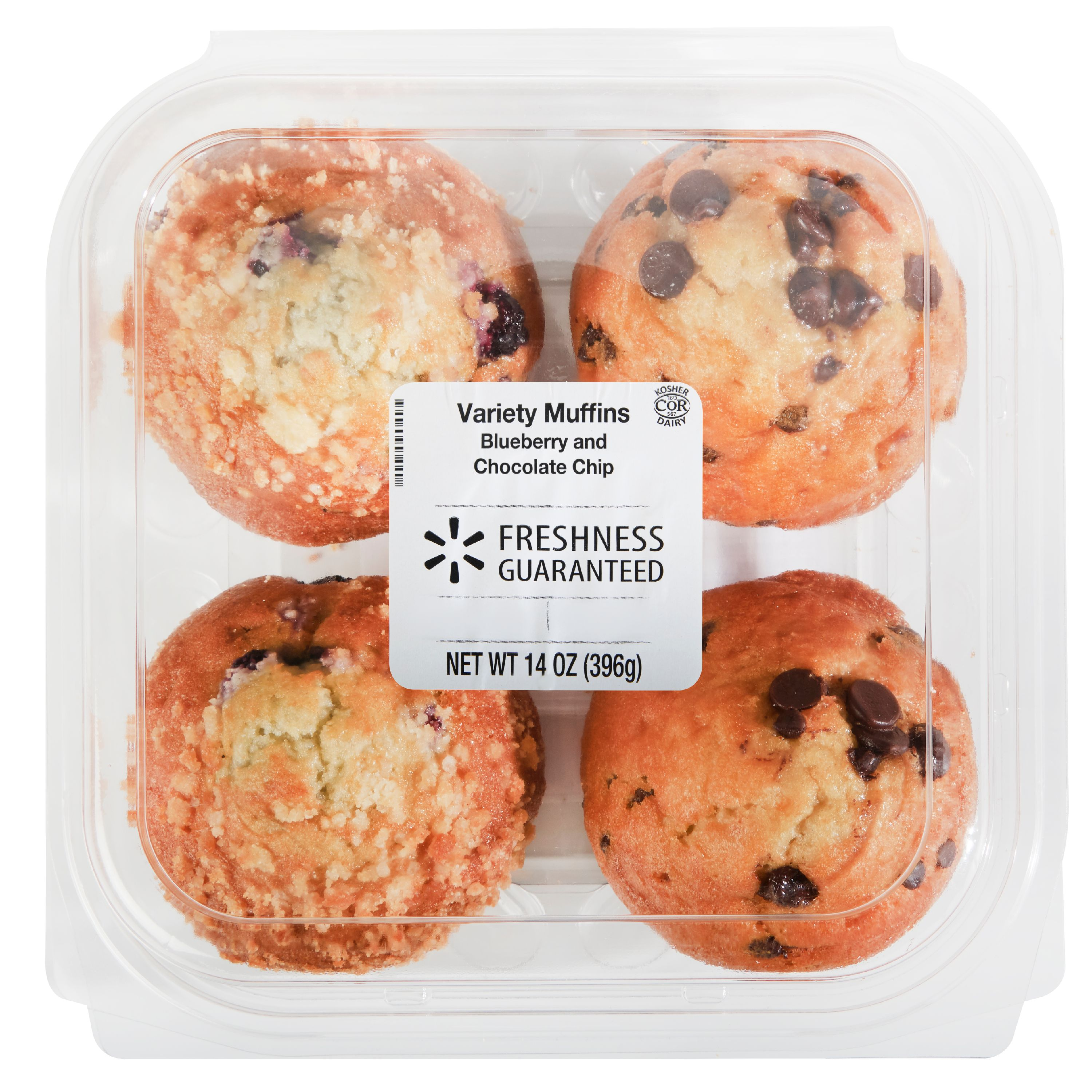 Freshness Guaranteed Blueberry & Chocolate Chip Muffin Variety Pack, 14 oz, 4 Count