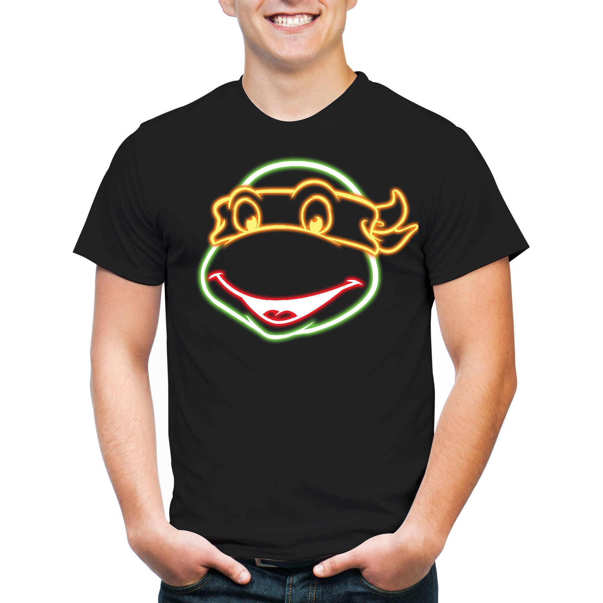 TMNT Michaelangelo Head Men's Graphic Short Sleeve T-Shirt, 2XL