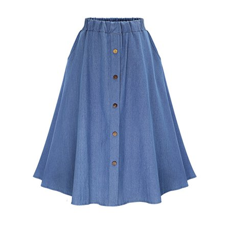 Denim Pleated Skirt for Women Button Jeans Swing Skirt Ladies A-line Elastic High Waist Casual Midi Skirts Skater Dress A-line Elastic Waist Skirt
