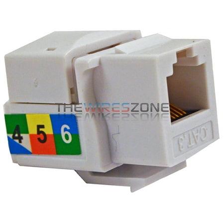 6P6C White RJ11 CAT3 Telephone Network Keystone Jack Insert Plug for Wall (Keystone Phone)