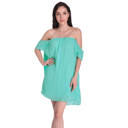 8b19f4ea7aea2 ZANZEA Women s Sleeveless Off-the-Shoulder Loose Chiffon Mini Dress ...