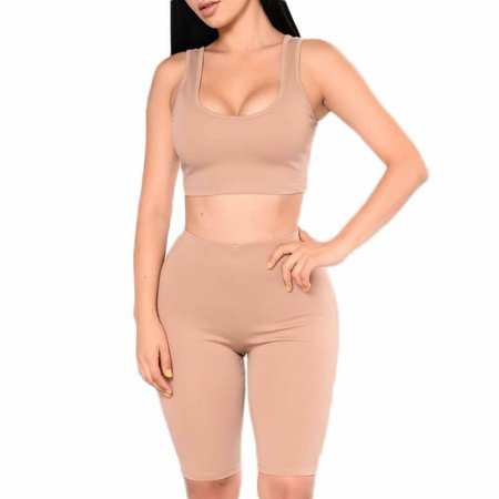 Fashion Women's Two Pieces Outfit Sexy Sleeveless Crop Tank Top Bodycon Shorts Pant Sets (2 Piece Shorts Tank Top)