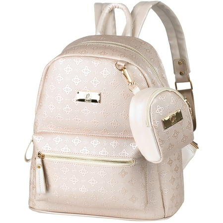 PU Leather Women Backpack with Mini Pouch, Vbiger Fashion Ladies Rucksack Shoulder Bag Travel Handbag, Beige Leather Mini Backpack Handbag
