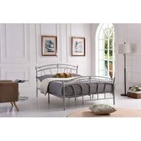 Hodedah Complete Silver Metal Bed, Multiple Sizes