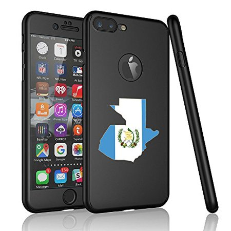 For Apple iPhone 360° Full Body Thin Slim Hard Case Cover + Tempered Glass Screen Protector Guatemala Guatemalan Flag (Black For iPhone 8 Plus) (Guatemala Cover)