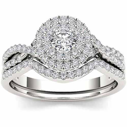 Imperial 3/4 Carat T.W. Diamond 10kt White Gold Double Halo Twisted Shank Engagement Ring Set