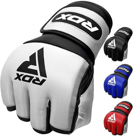 RDX MMA Gloves for Martial Arts Grappling Training | D. Cut Palm Sino Skin Leather Sparring Mitts | Good for Muay Thai, Kickboxing, Cage Fighting, Combat Sports & Punching bag
