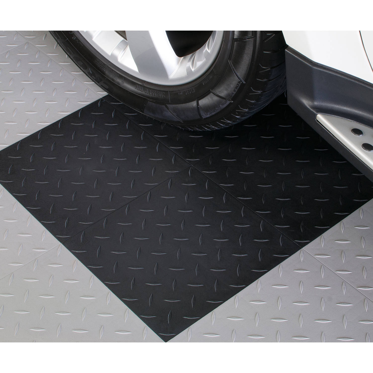 BlockTile Garage Flooring Diamond-Top Interlocking Tiles, Set of 27
