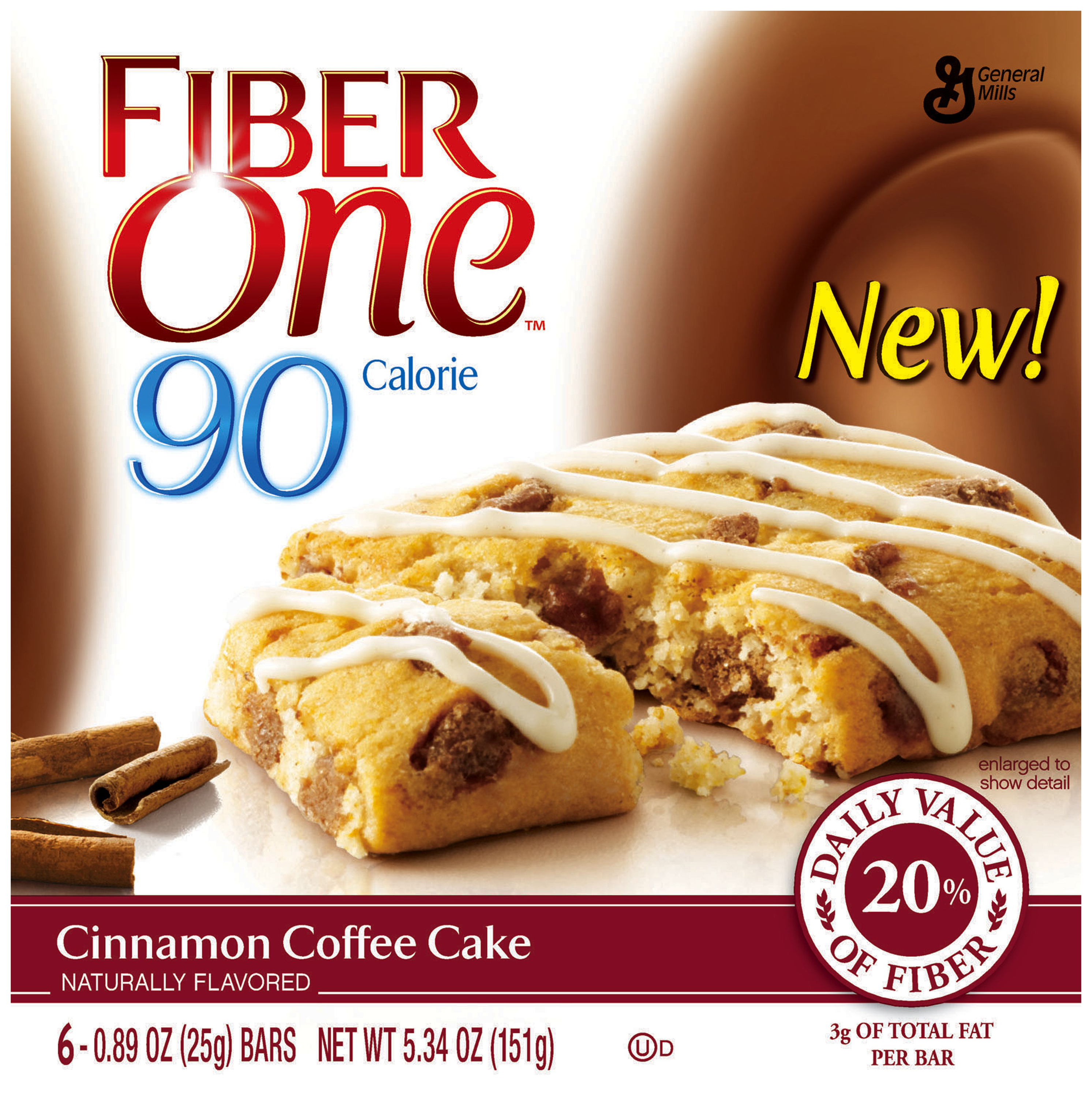 Fiber One� 90 Calorie Cinnamon Coffee Cake 6-0.89 oz. Wrappers