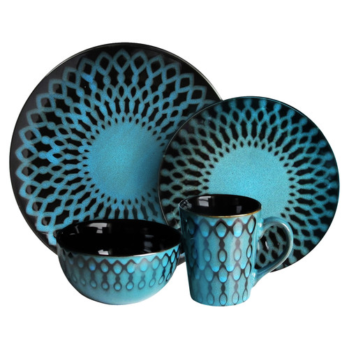 American Atelier Sicily Blue 16-Piece Dinnerware Set by Jay Import