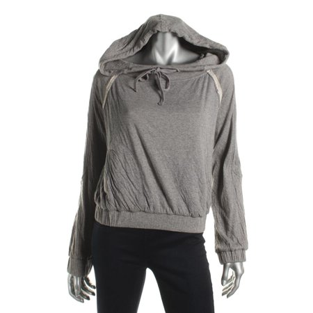 Free People Womens Heathered Distressed Hoodie