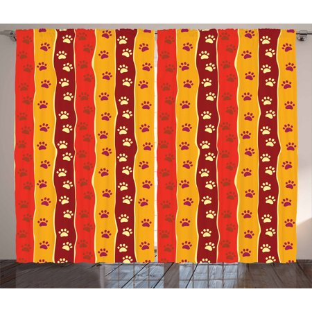 Red and Brown Curtains 2 Panels Set Vertical Striped Pattern Cat and D