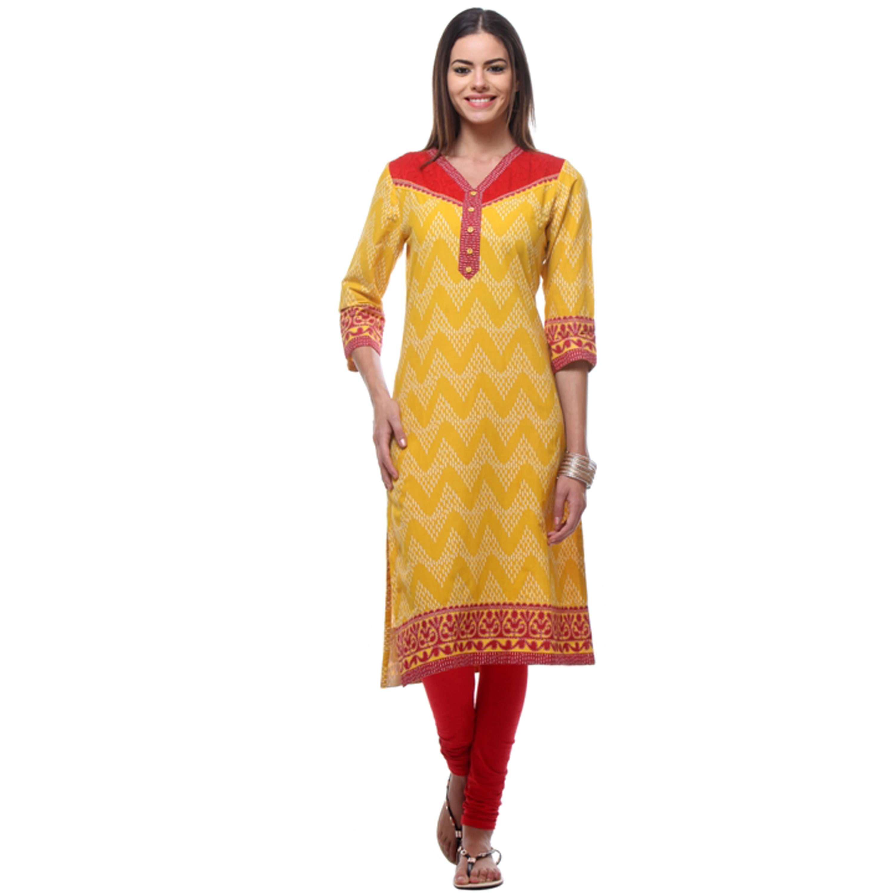 In-Sattva Women's Indian Red/Yellow Zig Zag Patterned Ene...