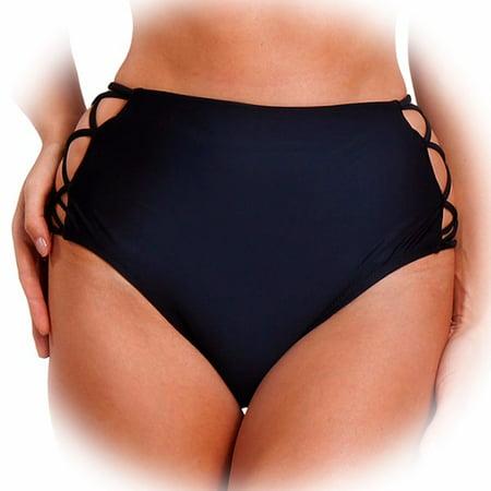 FITTOO Sexy Women's Swimwear Bikini Retro High Waisted Strappy Brief Bottom Solid Color (Black High Waist Bottom)