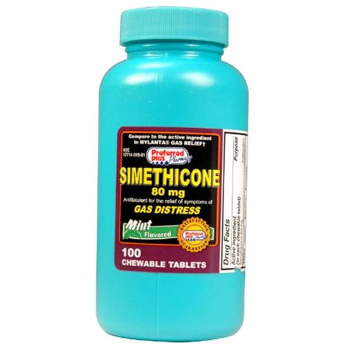 Simethicone 80mg Tablets, Mint 100 ea (Pack of 3)