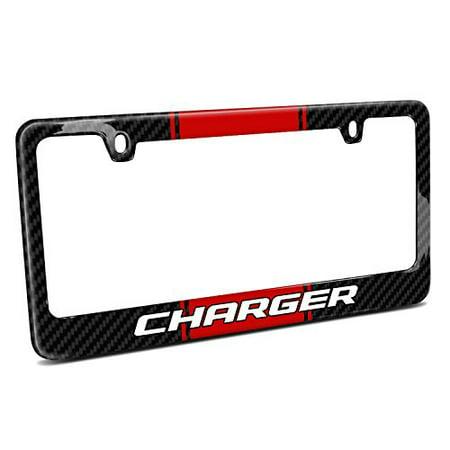 Dodge Charger Red Racing Stripe Black Real Carbon Fiber License Plate