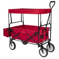 Best Choice Products Folding Utility Cargo Wagon Cart w/ Removable Canopy, Cup Holders
