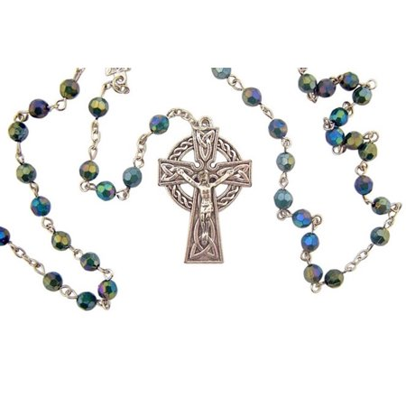 Green Acrylic Prayer Bead Irish Rosary with Celtic Cross Crucifix, 19 Inch