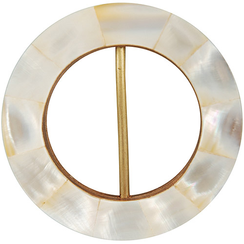 Vision Trims Handmade Mop Buckle Circle-Pearl White Multi-Colored