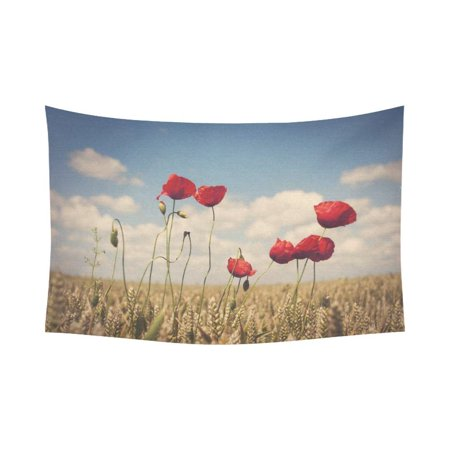 PHFZK Flower Poppy Landscape Wall Art Home Decor, Red Poppies in Field of Wheat Tapestry Wall Hanging 60 X 90 Inches