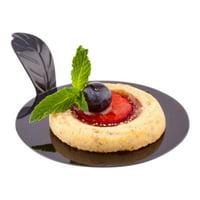 "Pastry Pallet, Round Pastry Plate, Plastic Dessert Plate with Handle - 3"" - Black - Premium Plastic - 100ct Box"
