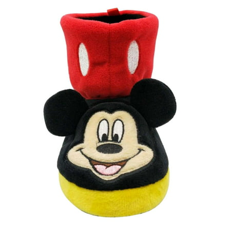 Disney Toddler Boys Black & Red Mickey Mouse Slippers Boots House Shoes](Disney Slippers)