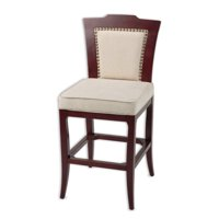 Springfield Wood Bar Stool with Oatmeal Upholstered Seat and Merlot Finished Frame, 2-Pack, 30-Inch by Fashion Bed Group