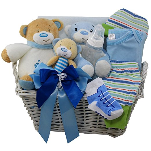 Sweet Baby Special Delivery Gift Basket with Teddy Bear, Blue Boys