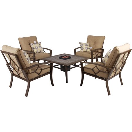 Kennedy 5 Piece Gas Fire Pit Patio Conversation Set Khaki Box 3 Of 3 Walm