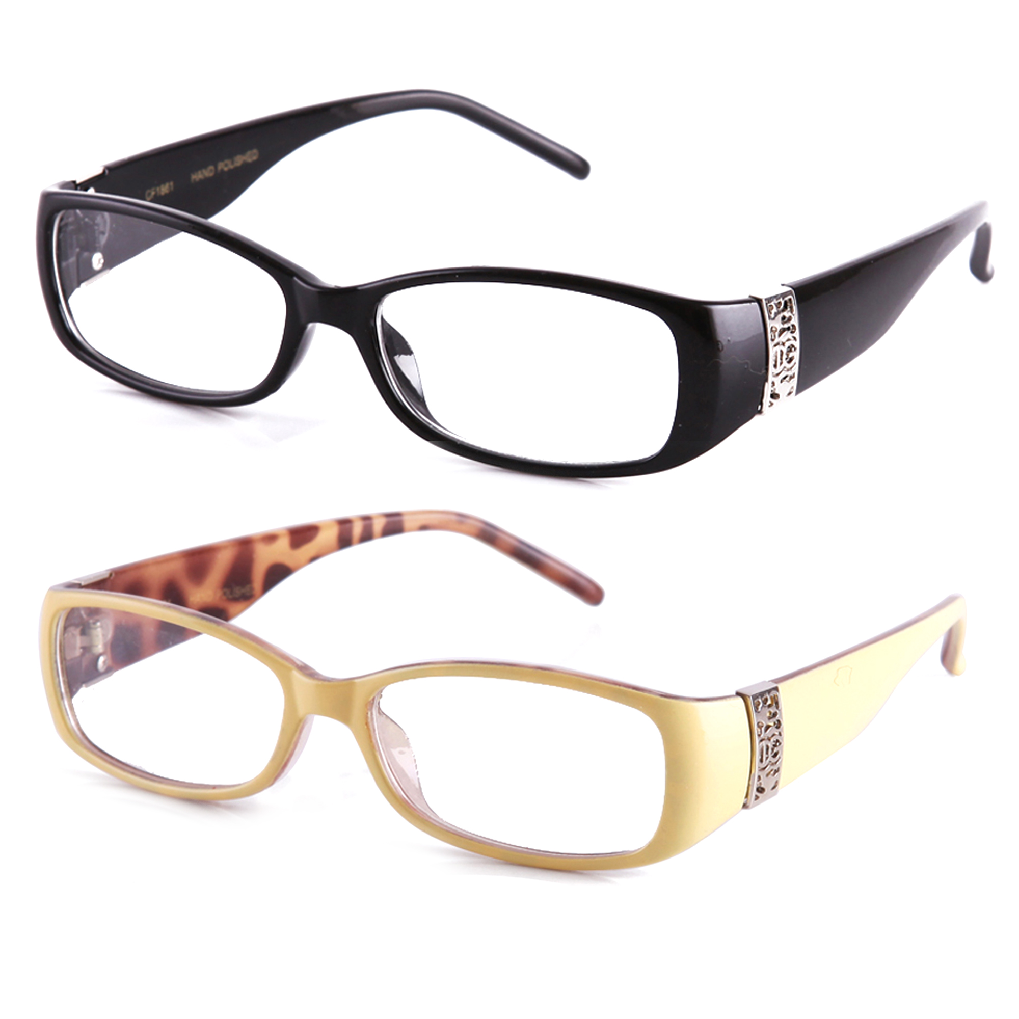 Newbee Fashion Stylish Women Clear Lens Eye Glasses Squared Small Frame Two Tone Colors