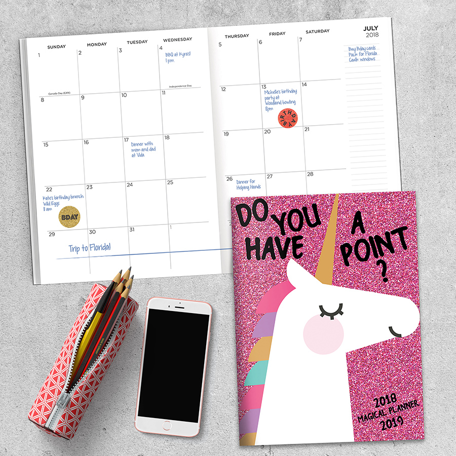 """2019 Unicorns: Your Point July 2018 June 2019 Academic Year 10.25""""x7.5"""" Monthly Planner by TF Publishing"""