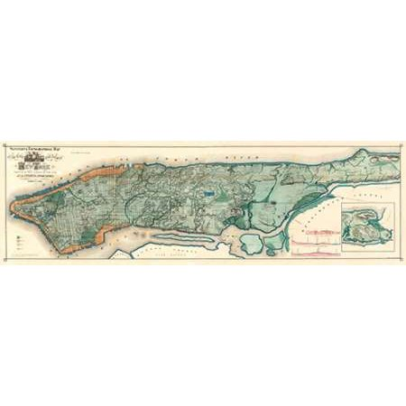 Sanitary and Topographical Map of the City and Island of New York 1865 Poster Print by Egbert Viele ()