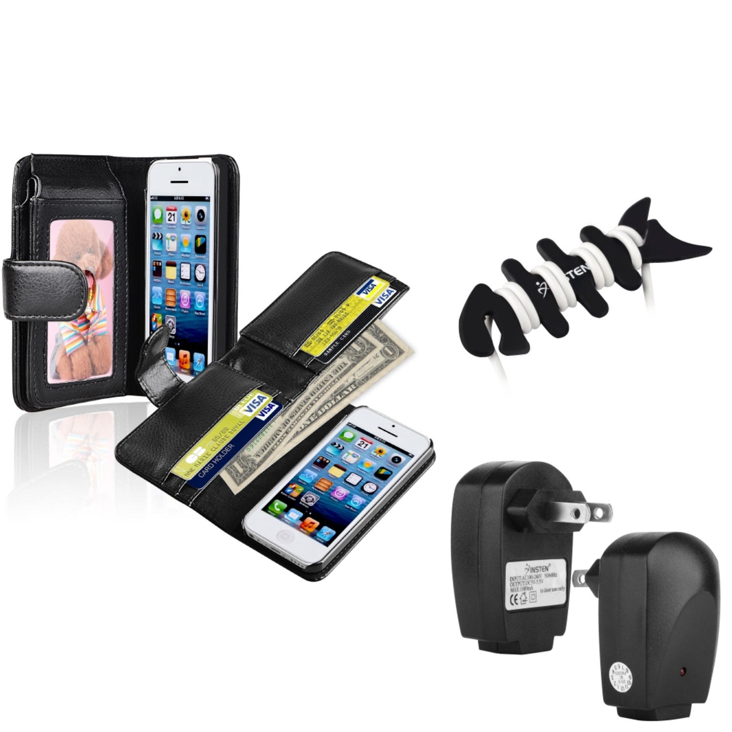 Insten Black Wallet Leather Case with Photo Frame+AC Wall charger Adapter+Wrap For Apple iPhone 5C