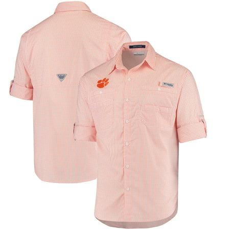 Clemson Tigers Columbia Super Tamiami Long Sleeve Button-Down Omni-Shade Shirt - Orange