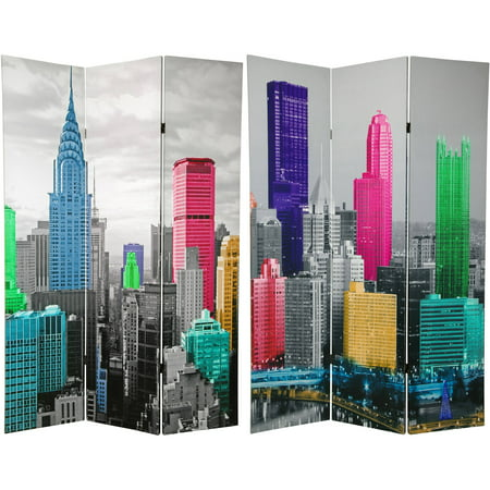 6' Tall Colorful New York Scene Room Divider