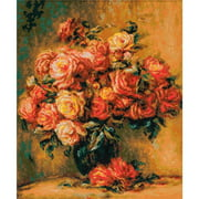 """Bouquet of Roses After Renoir's Painting Counted Cross Stitch Kit, 15.75"""" x 19"""", 14-Count"""