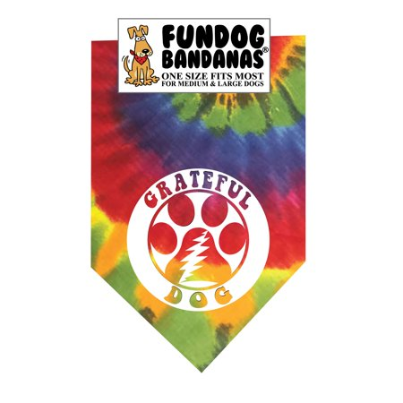 Fun Dog Bandana - Grateful Dog - One Size Fits Most for Medium to Large Dogs, tie dye pet scarf