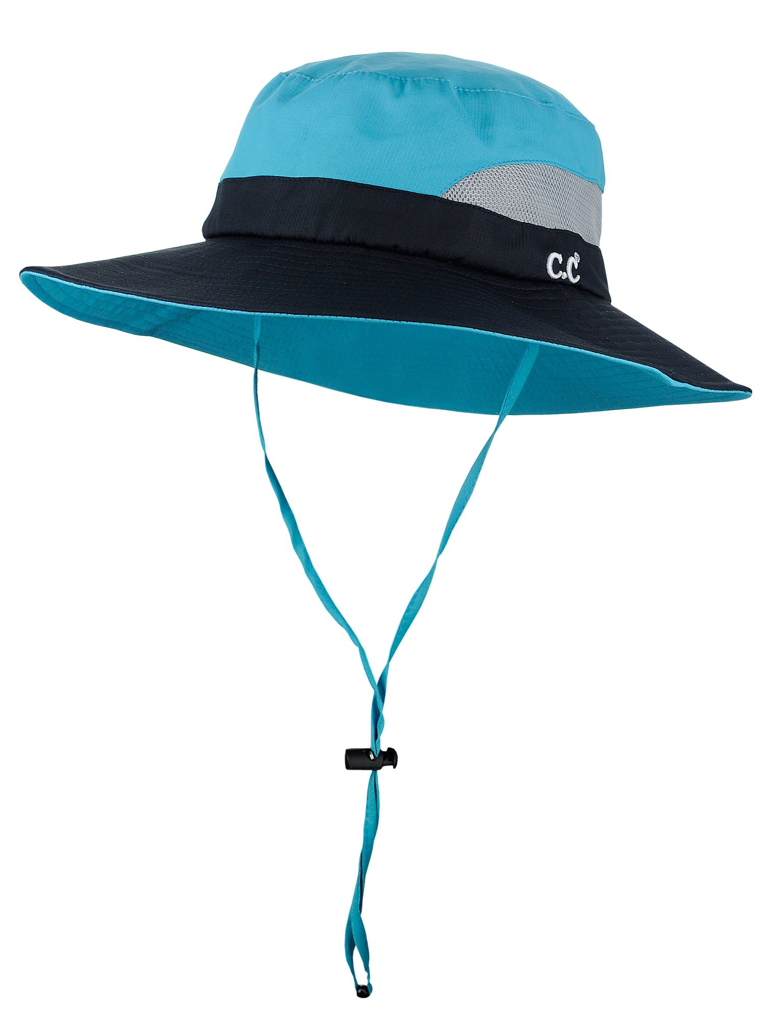 C.C Safari Sun Hat Wide Brim Hat with Ponytail Hole Packable UPF 50+ for Hiking Camping
