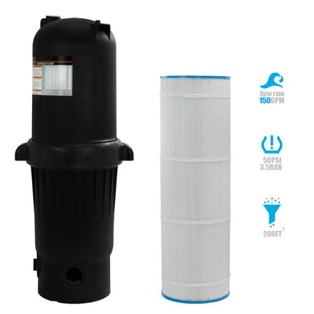 XtremepowerUS 200 sq ft Pool Cartridge Filter In-Ground Swimming Pool Spa Pool Filter System 200 Square Foot (Spa Filter System)