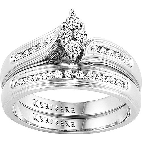 Keepsake Romantic Embrace 1/4 Carat T.W. Certified Diamond, 10kt White Gold Bridal Set