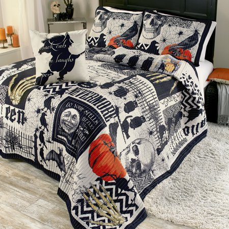 Nevermore Halloween Quilt Set with Pillow Shams Twin